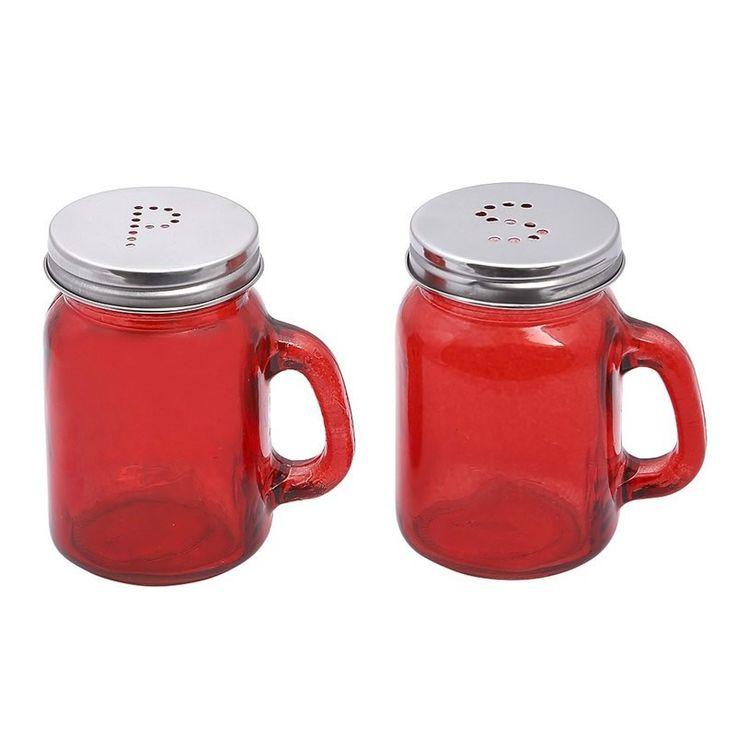 Σετ αλατοπίπερο γυάλινο, σε κόκκινο χρώμα. (αναμένεται 15-05-2015). Διαστάσεις: Y 8.5cm M 7cm Π 5,5cm