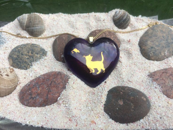 Fused Glass Pendant - Cat and Mouse by CrystalCaveGlassArt on Etsy