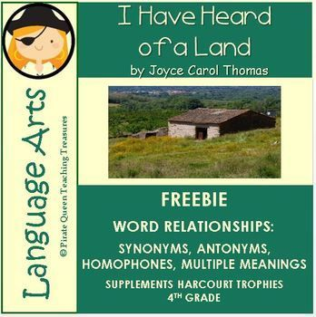 Use this FREE product to reinforce the Focus Skill of Word Relationships in the story, I Have Heard of a Land, by Joyce Carol Thomas. This product includes: • Teaching Tips • Common Core Connections • PowerPoint slides on the various word relationships • Word Scavenger Hunt.