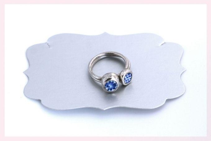Blue Ceramic Stack Rings by Janine Binneman Jewellery Design on hellopretty.co.za