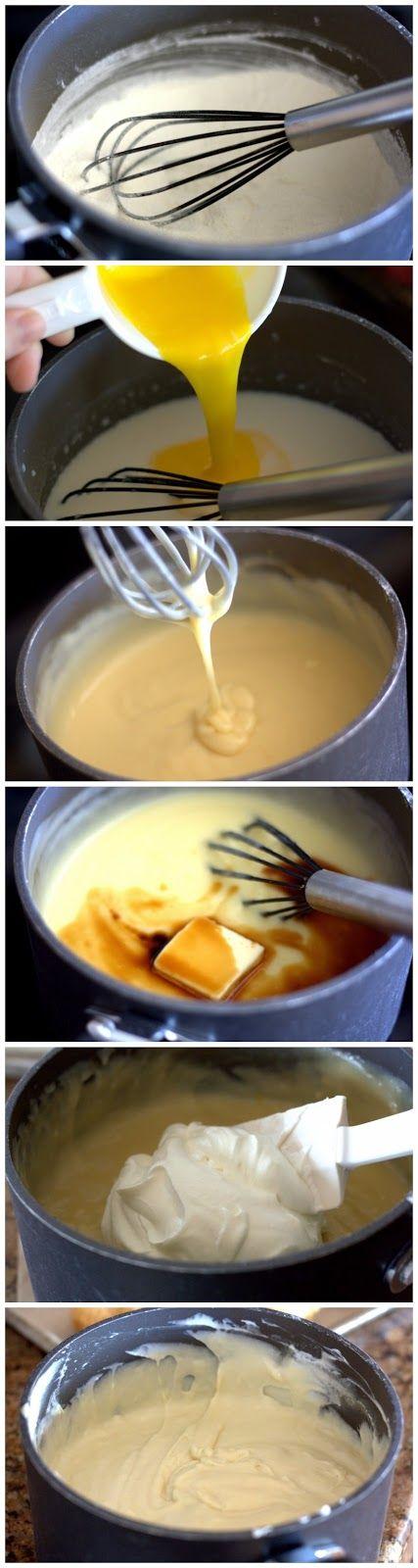 Easy Bavarian Cream Recipe  Ingredients   1 cup sugar  ¾ cup all purpose flour  ¾ tsp. fine sea salt  3 cups milk  3 egg yolks  2 tbs but...