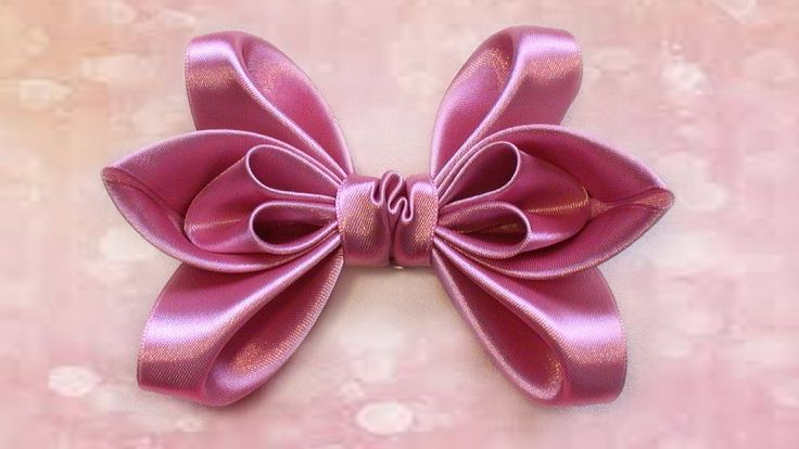 How to make a bow of satin ribbon for hair. How to make a hair bow