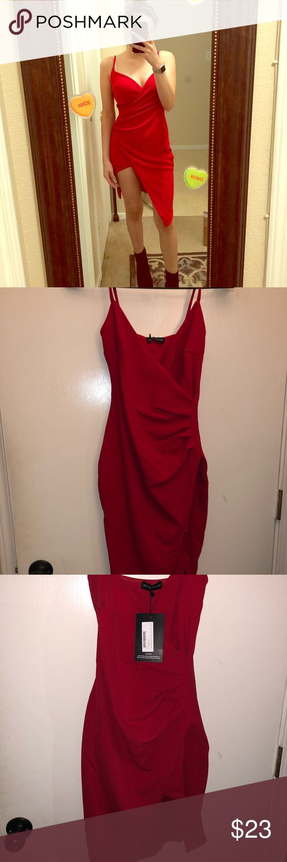 Red wrap front crepe midi dress NWT Beautiful red dress  UK Size 8 which is a size small  Didn't fit me , only tried on  Price negotiable , just take into consideration it's brand new PrettyLittleThing Dresses Midi