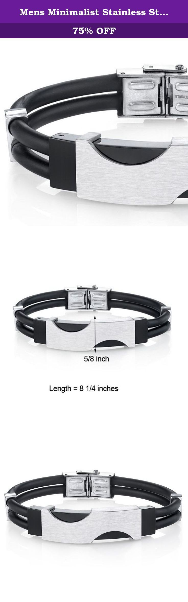 Mens Minimalist Stainless Steel and Black Silicon Bracelet. Brushed finish, hypo-allergenic, biocompatible 316L Stainless Steel and dual black silicon cord bracelet adds a unique and sleek style to a charming personality. This simple elegance can be enjoyed by fashion forward guys who want a great accessory that will bring cool style to their regular look. The user friendly clasp is secure and ensures a comfortable fit. Bracelet measures: 8 1/4 inches in legnth and 5/8 inch in width…