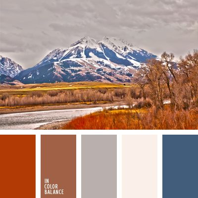 The palette of colors is based on a combination of autumn leaves and blue sky, withered grass and the first snow.  These autumn colors can be used for interior decoration, facing the windows on the sunny side, in order to create a feeling of coolness. Can be used in the autumn wardrobe.