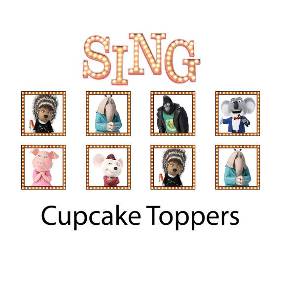 SING Movie Cupcake Toppers Stickers 1 1/2 by ChamPartyPerfect