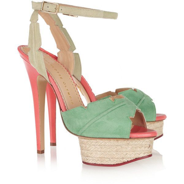 Charlotte Olympia Isla palm leaf suede and leather sandals found on Polyvore