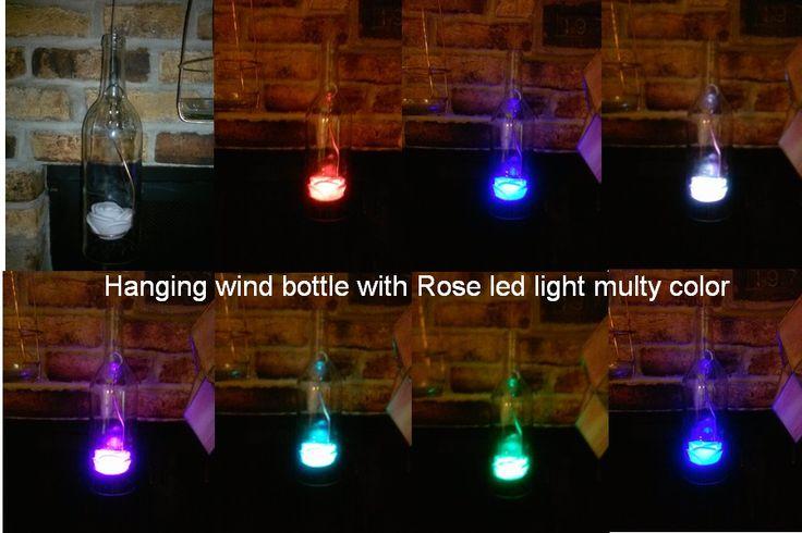 Hanging wind bottle with Rose led light multy color