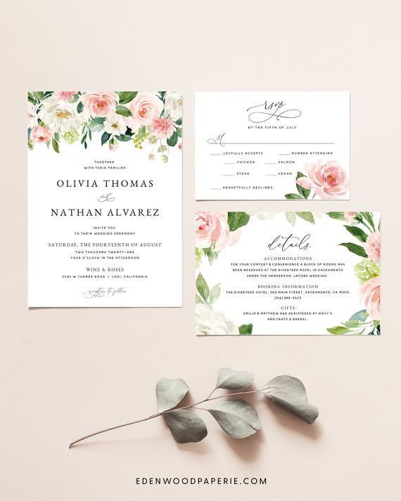 Blush Pink Floral Wedding Invitation Suite Blush Rose Wedding Invitation Template Set Printable Wedding Invitation Template Download