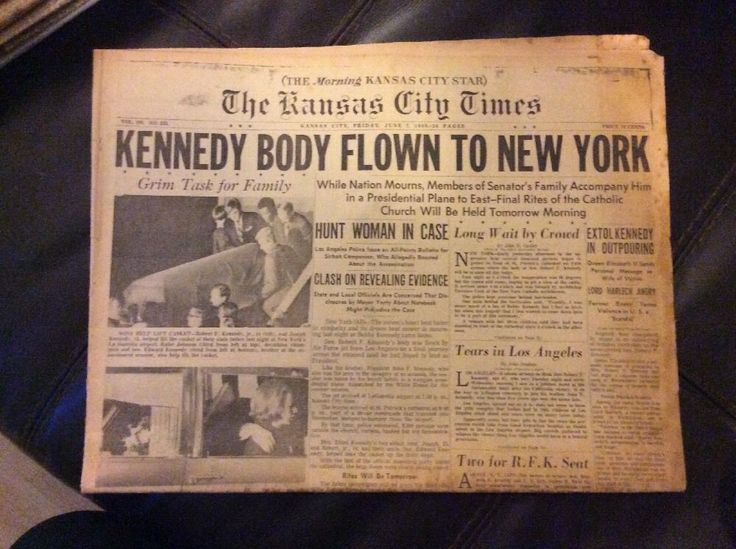 JUNE 7, 1968 KANSAS CITY TIMES : KENNEDY BODY FLOWN TO NEW YORK