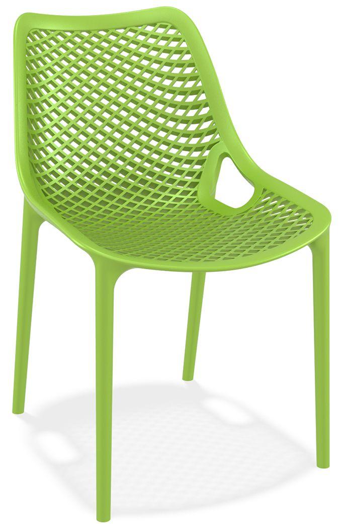 Stapelbare stoel Air. Volledig uit kunststof vervaardigde, elegante kantinestoelen voor binnen en buiten gebruik. Stapelbaar 100% polypropyleen uit een vorm. Leverbaar in kleuren; zwart, tropisch groen, donkergrijs, oranje, rood, lichtgrijs en wit. Minimale afname 4 stuks.