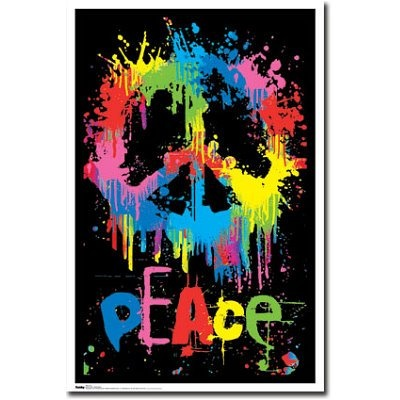Peace Sign Poster Psychedelic Blacklight Dripping Paint In Bright Neon Colors That Would Glow In