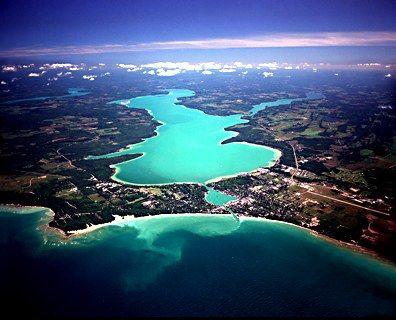 Charlevoix Lake & Lake Michigan in Charlevoix, Michigan