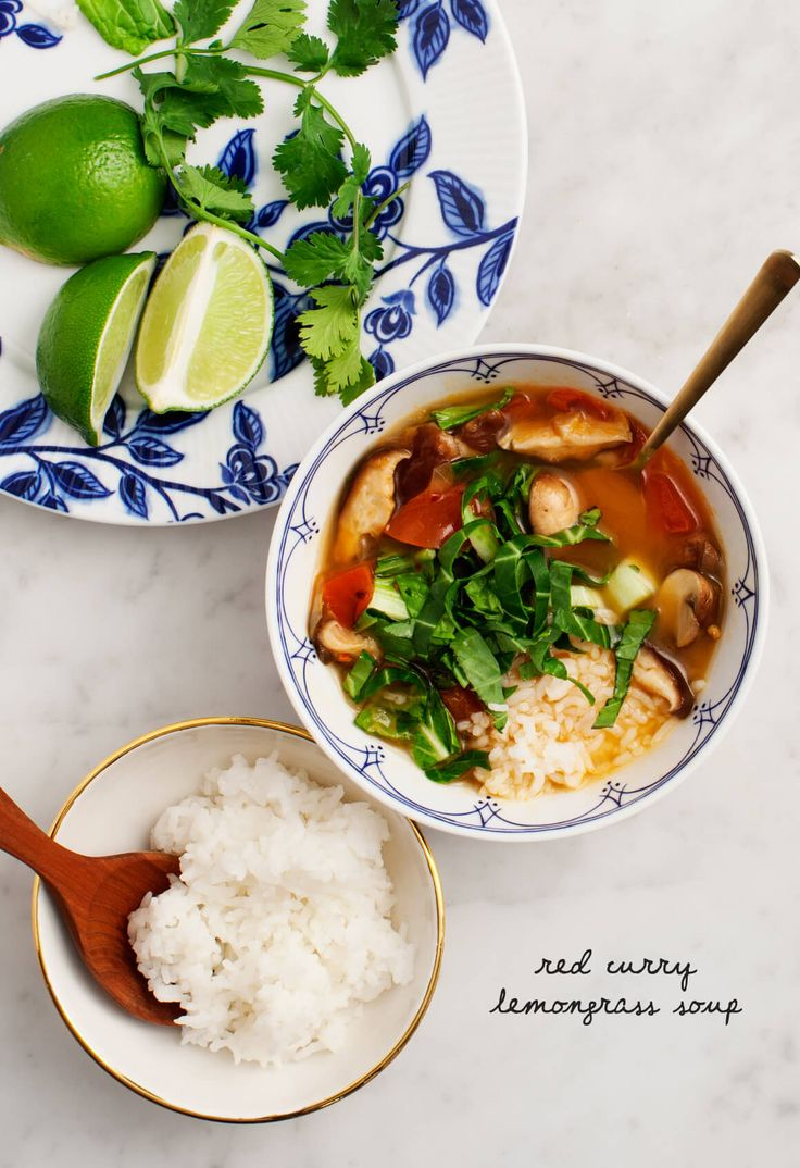 Red Curry Lemongrass Soup - A Thai red curry soup made with ginger, mushrooms, tomatoes and bok choy. Vegan & Gluten Free.