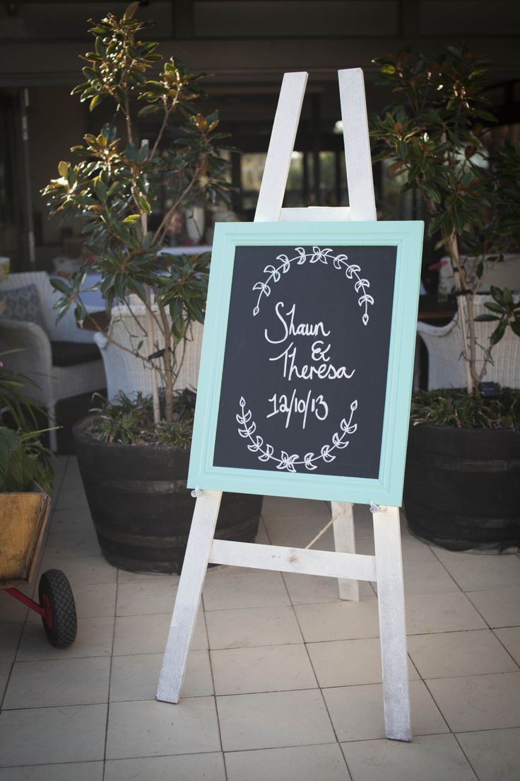 Our Blackboard sign and easel was used at Shaun & Theresa's wedding Reception at The Dunes, Palm Beach