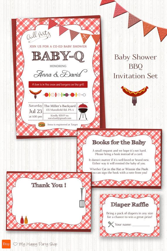 babyq shower invitation set bbq theme co ed by