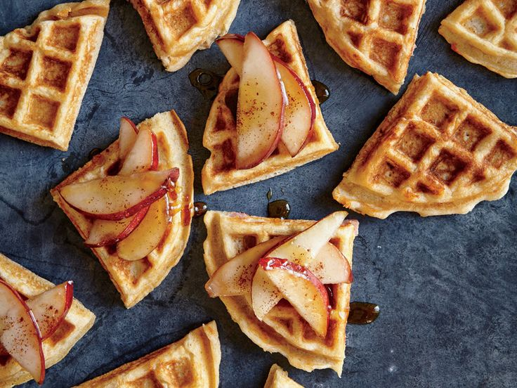 While traditional Belgian waffles are made with yeast, we use beaten egg whites to give these salty-sweet waffles their light, airy texture and crispy exterior.  TO FREEZE: Cool pears to room temperature. Divide mixture evenly among 8 plastic freezer bags. Cool waffles completely on a wire rack. Stack waffles between wax paper, and place in a large plastic freezer bag for up to 6 months.  TO COOK: Heat frozen waffles in toaster using freezer setting until heated through. Or heat in a 350°…