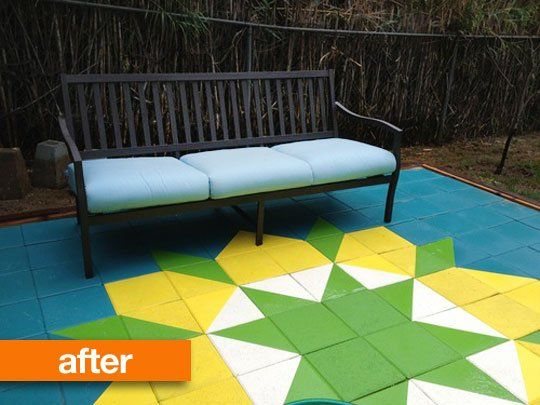 Before U0026 After: Sarau0027s DIY Block Quilt Patio