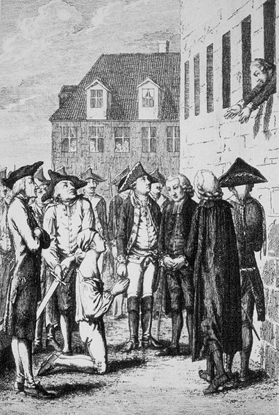 """A court martial found Katte guilty of desertion and sentenced him to lifelong imprisonment; but King Frederick Wilhelm I wanted him executed, declaring that """"it would be better that Katte came to death than the justice out of the world."""" Katte was beheaded at the fortress of Küstrin. The king forced Frederick to watch the execution."""