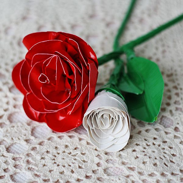 I recently wrote a book on duct tape crafts, and now I can't get enough! I made these realistic duct tape roses for Spoonful.