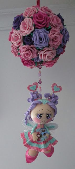 Rose ball, can be used with any favorite flower and doll made of polymer.
