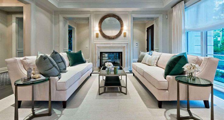 House Tour   Princess Margaret Lottery Home, cream sofas, elegant living room, round mirror