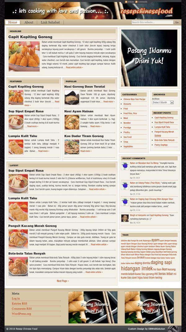 Resep Chinese Food. Website dengan desain gaya magazine yang elegan untuk menampilkan resep masakan Asia.