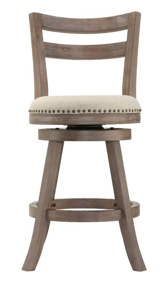 Counter Height Stool Fabric Swivel Back Wood Kitchen French Seat Rustic Pub Bar #CortesiHome #CountryFarmhouseNauticalRusticTransitional