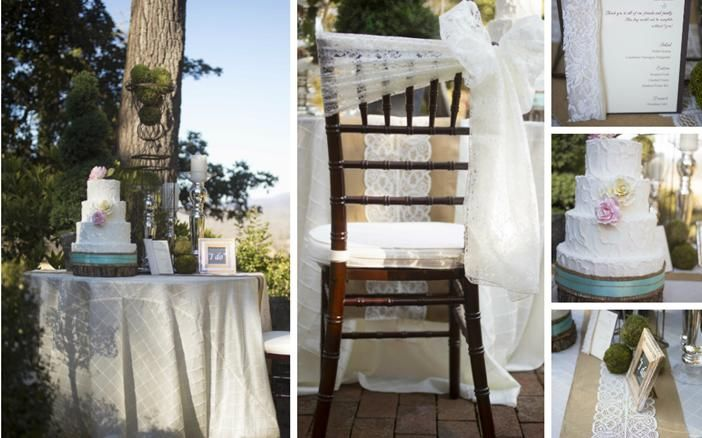Rustic, yet beautiful tablescape idea. Lace and burlap runner with neutral linens. Idea via Table Covers & More | Tate House, Something New for I Do, Kelly Anne Photography