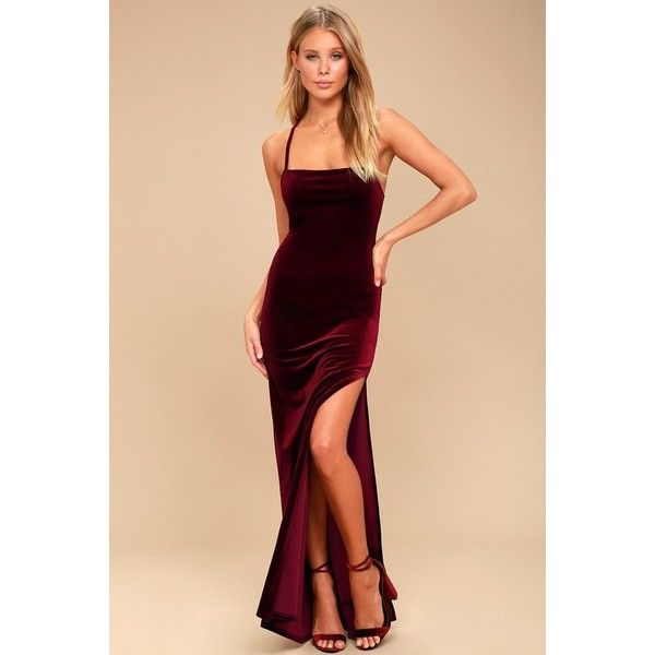 Lulus  Crazy Over You Burgundy Velvet Maxi Dress ($64) ❤ liked on Polyvore featuring dresses, gowns, burgundy velvet dress, beige maxi dress, beige maxi skirt, maxi skirt and burgundy dress