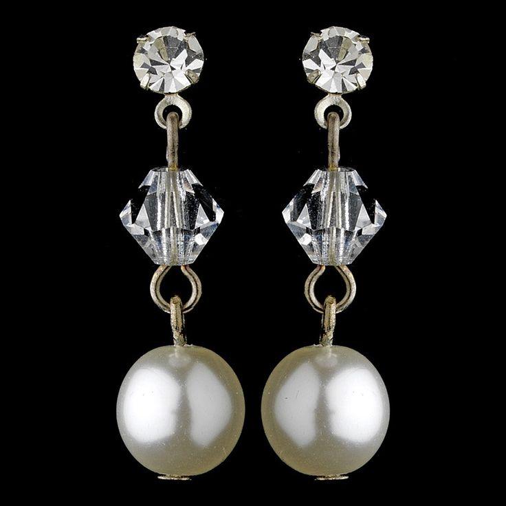Simple Swarovski Crystal Bead & Pearl Drop Earrings 8367
