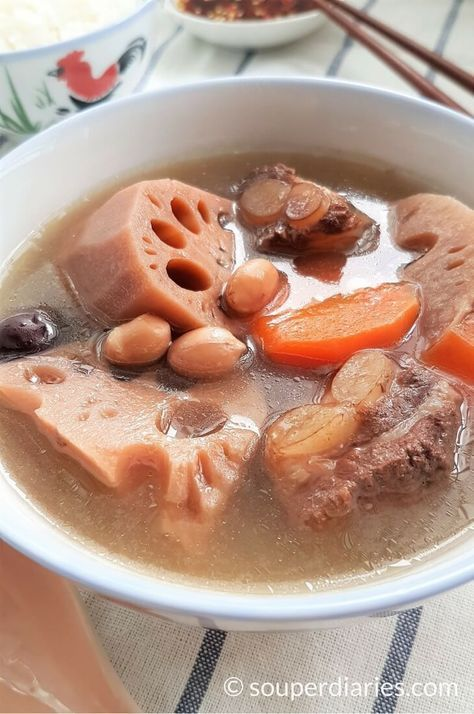 Lotus root soup with pork ribs. A classic Chinese soup.