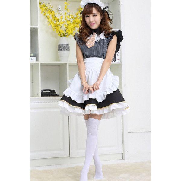 Black Stripe Print Sexy Maid Costume ($32) ❤ liked on Polyvore featuring costumes, black, maid costume, french maid halloween costume, maid halloween costume, sexy maid halloween costume and french maid costume