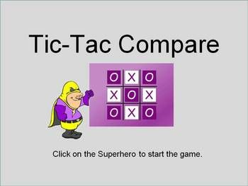 To play Tic-Tac-Compare students must compare fractions, decimals, and percentages.  They must determine whether the numbers given are equal.  If t...