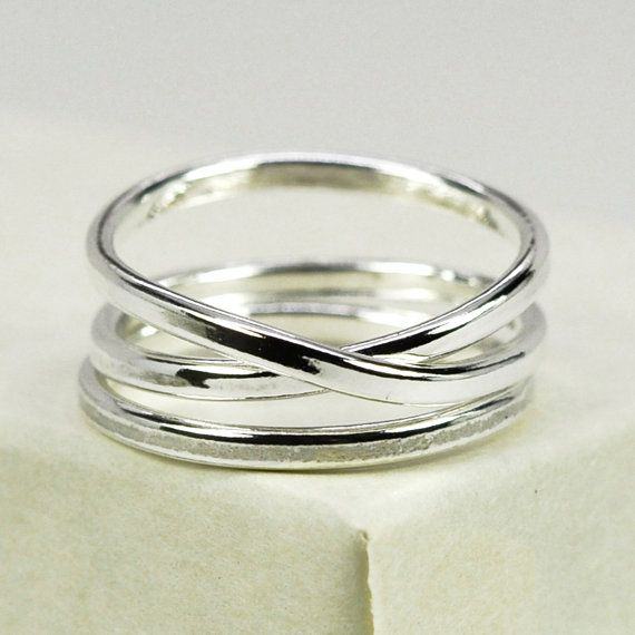 Silver Infinity Ring Plus One, Stacking Pure Silver Recycled Metal Ring, Eco Friendly Simple Everyday Ring, Sea Babe Jewelry. $45.00, via Etsy.