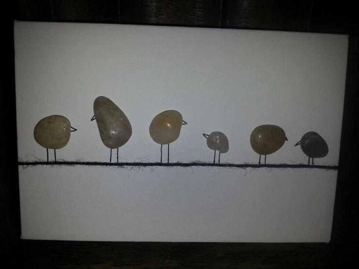 Pebble-birds on a string