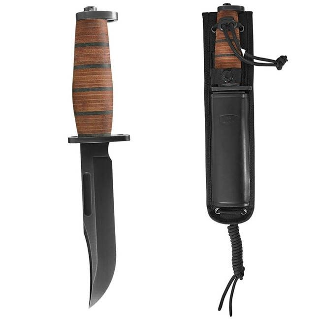 "Buck Knives Brahma 0119BRS With 6"" Blade and Stacked Leather Handle"