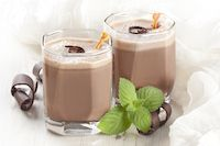 Glasses of Kefir Chocolate Frosty