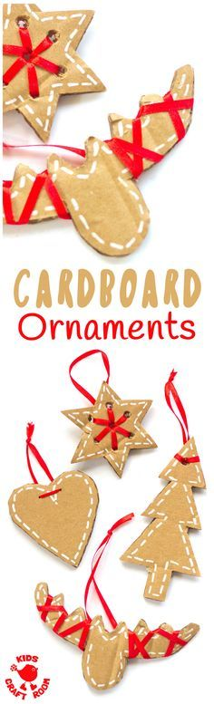 PRETTY CARDBOARD ORNAMENTS - These rustic DIY cardboard ornaments are a fantastic recycled crafts that will make your Christmas tree and home gorgeous this Winter. A simple Christmas craft for kids and adults. #christmas #christmascrafts #kidscrafts #recycledcrafts #ornaments #kidscraftroom #cardboard #recycled  via @KidsCraftRoom