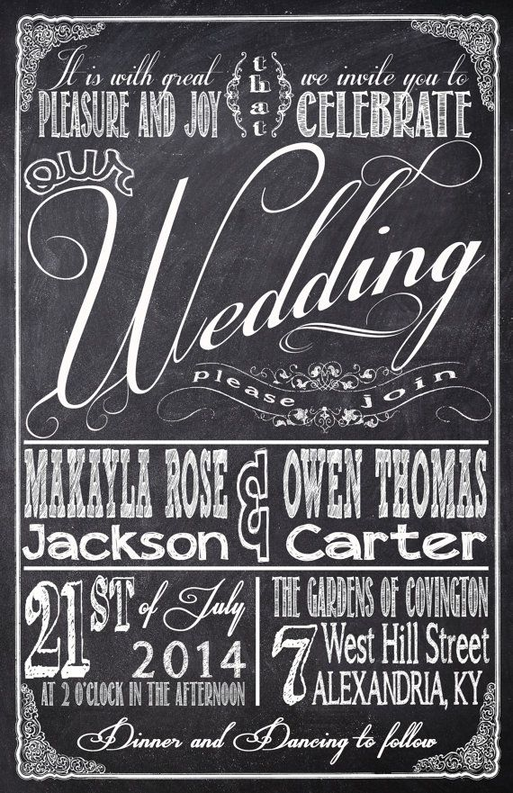 Chalkboard Wedding Invitations with RSVP cards by InvitingMoments
