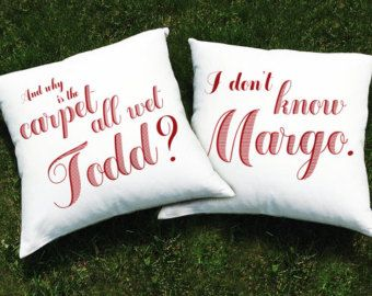 Christmas Vacation Movie Throw Pillow Cover SET (2 CASES) - National Lampoon Chevy Chase -Why is the Carpet All Wet Todd? I Don't Know Margo