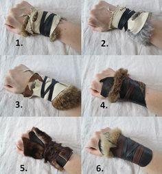 Armor gloves bracer 1 Tribal Leather Fur Cuff Viking Barbarian von FolkOfTheWood
