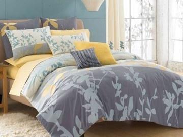 KAS~MAYSUN~GREY YELLOW BLUE~ Twin Comforter Set
