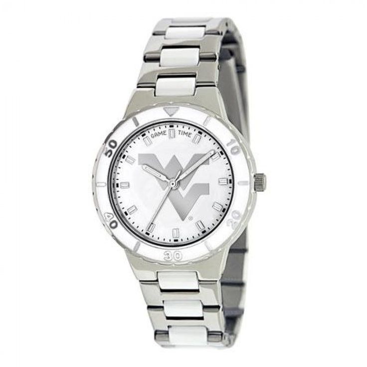 West Virginia Mountaineers NCAA Ladies Pro Pearl Series Watch  The Ladies Pro #Pearl #Watch features the official licensed team logo in silver on a Mother of Pearl Dial, alloy case with white enamel bezel and silver tone indices, stainless steel bracelet, incredible accuracy and reliability using #Japan #Miyota #Quartz movement...