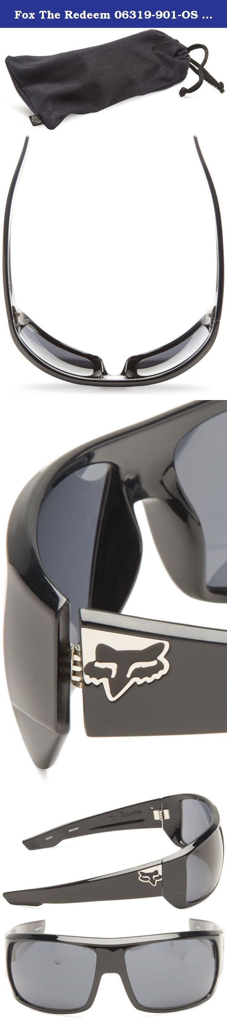 Fox The Redeem 06319-901-OS Wrap Sunglasses,Polished Black & Grey,65 mm. Primary Color: Black Distinct Name: Polished Black / Gray Lens Frame: Nylon Hinge: 7 Barrel Metal - Optical Grade Lens Shape: Large Rounded Wrap Temple: Nylon with Metal Plate Logo: Metal Fox Head Lens: 8 Base Polycarbonate All Fox Eyewear lenses have been tested and manufactured by Carl Zeiss Vision Sunlens and offer outstanding optical quality, performance, UV protection, scratch resistance and impact protection .