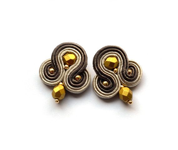 Gold elegant Soutache earring stud clipon post by SaboDesign.