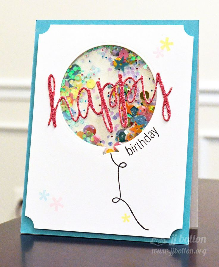JJ Bolton {Handmade Cards}: Glittery Balloon Shaker with Avery Elle