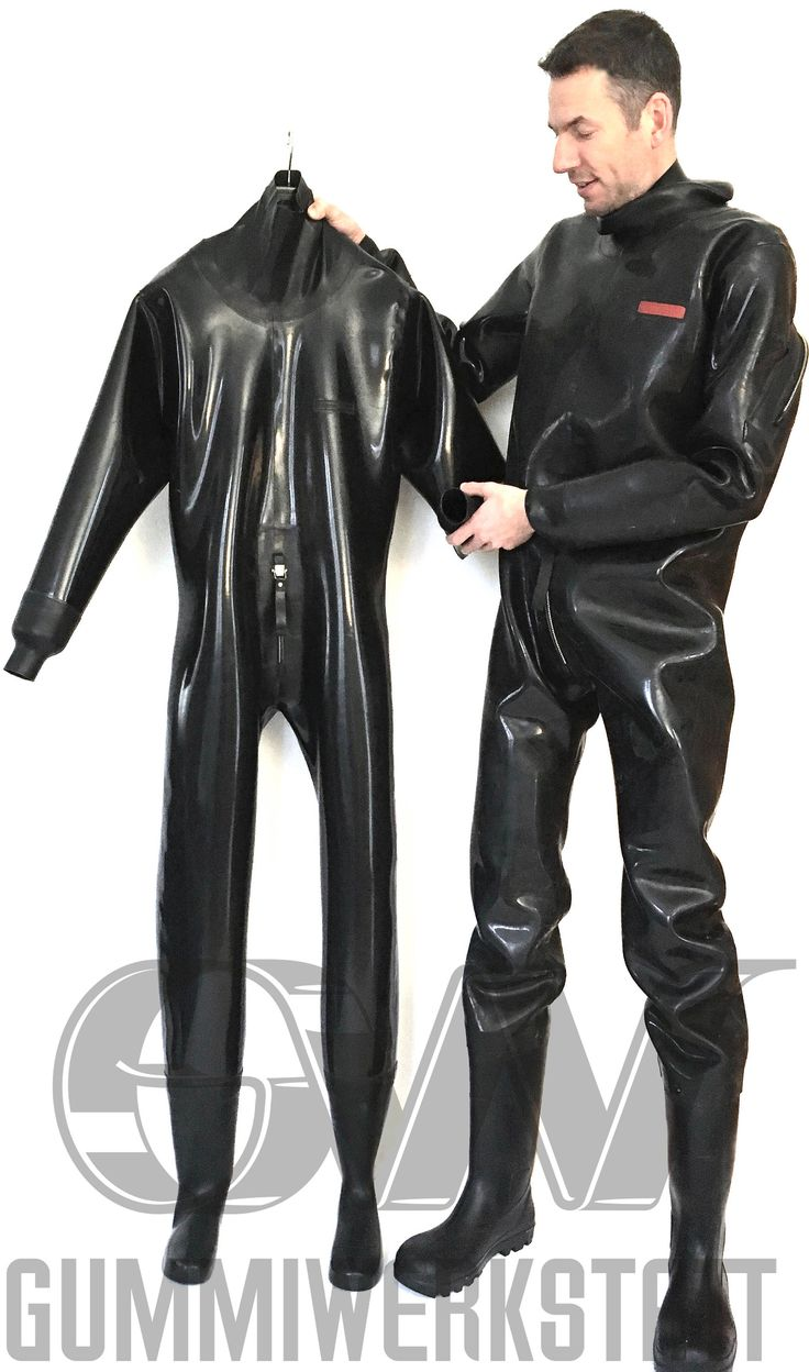 Loose fitting rubber suit with drysuit zips, tight neck seal, tight wrist seals (or rubber gloves) and attached rubber boots (or anatomical rubber socks) The suit will be made out of 1,5 mm premium heavy natural rubber. Easy entry through a drysuit zip on back over shoulder. Tight neck seal out of
