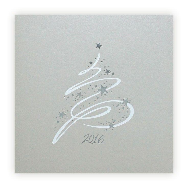 Carte de voeux : Sapin blanc & etoiles argent sur gris irisé F1612