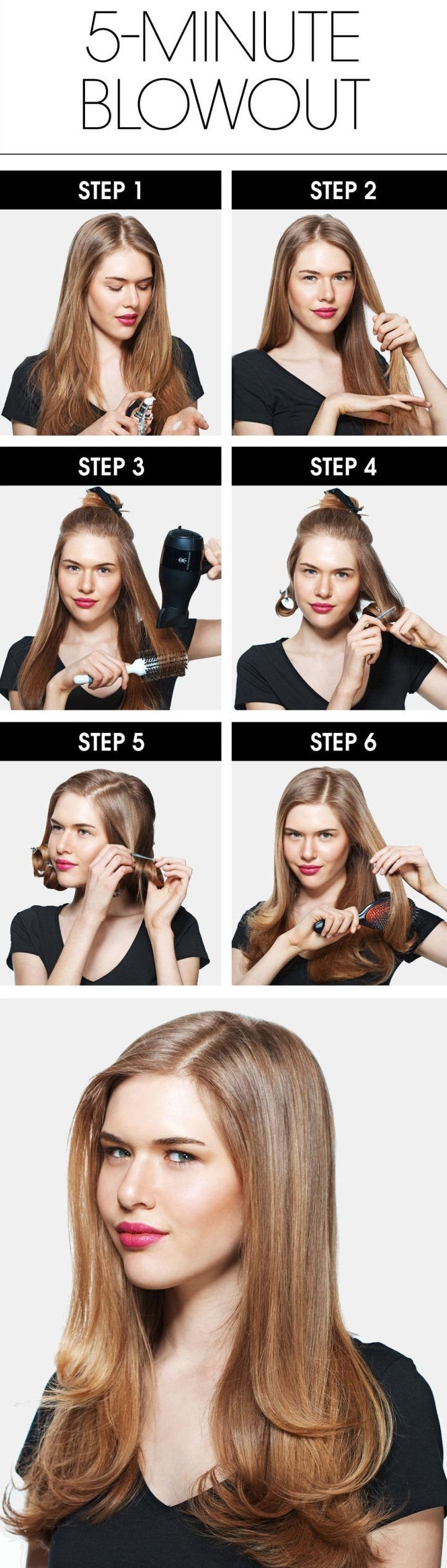 [Guide] On  Salon Style Perfect Hair Blowouts in 5 Minutes at Home with help of round brush with bristles and...